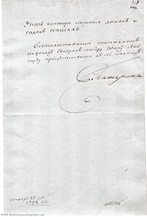 Fine decree document, in Russian with translation signed 'Ekaterina' to