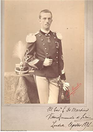 Exceptional portrait photo by d'Alessandri, Rome, signed: VICTOR EMMANUEL III