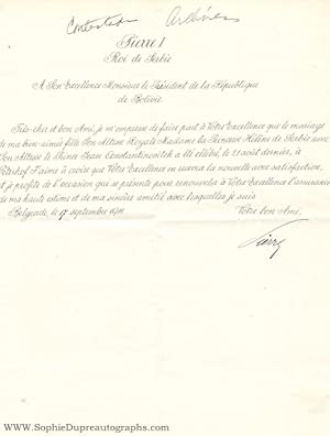 Fine Letter signed 'Pierre' in French with translation, to the President of the Republic of Boliv...