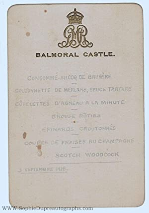 Menu (for dinner) in French, (1865-1936, King: GEORGE V