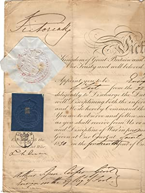 Commission Document with her bold signature at the top, (1819-1901, Queen of Great Britain)