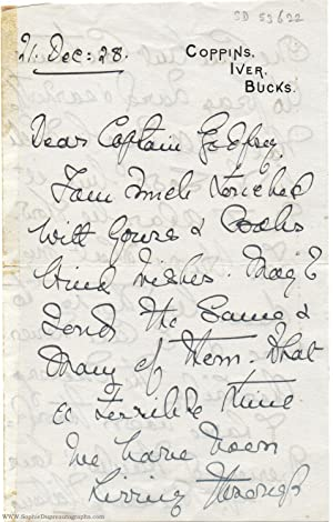 Autograph letter signed to Captain Bryan Godfrey,: VICTORIA ALEXANDRA