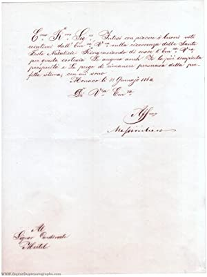 Fine letter in Italian with translation, signed, to Teodolfo Mertel, (1811-1864, from 1848 King o...