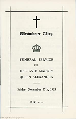 Programme for the funeral service of the late Queen, (of Denmark, 1844-1925, Queen of Edward VII)
