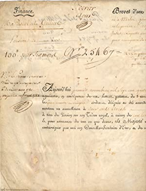 Document signed in Louis' name by a Secrétaire de la main, in French (1754-1793, King of France 1...