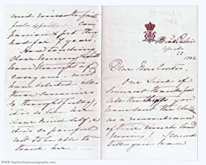 Autograph Letter Signed to Mrs Curtis (1840-1901, Empress Frederick of Germany, wife of Frederick...