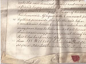 """Large Indenture signed """"Clive"""" in the hand: CLIVE"""