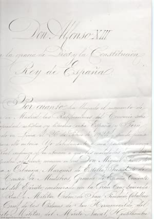 Finely penned document, in Spanish with translation, signed 'Alfonso RH', (1886-1941, King of Spa...