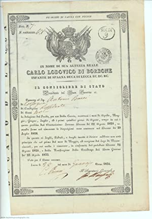 Permit, in Italian with translation, to carry a hunting rifle, (1799-1883, King of Etruria 1803-1...