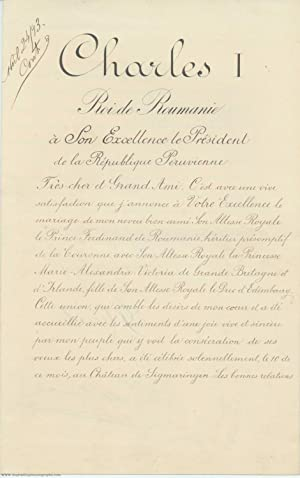 Finely penned Document signed 'Charles', in French with translation, (1839-1914, from 1866 ruling...