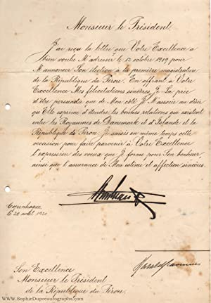 Finely penned document signed, in French with translation, (1870-1947, from 1912 King of Denmark)