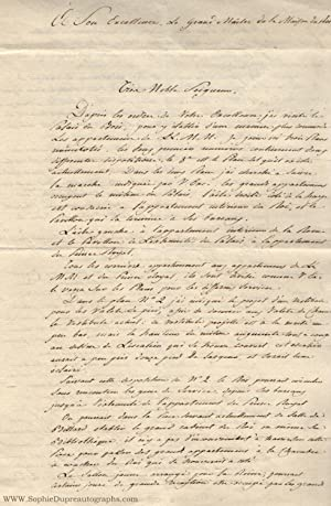 Autograph Letter Signed, in French, from architect Thibault, (Bonaparte, 1778-1846, brother of Na...