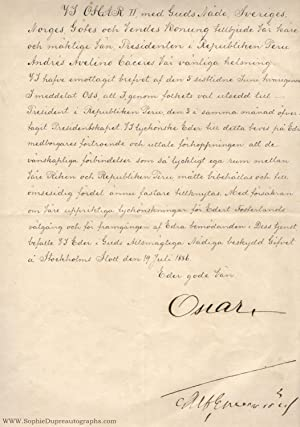 Finely penned Document signed, in Swedish with translation, (1829-1907, from 1872 King of Sweden)