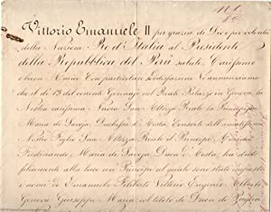 Finely penned Document signed, in Italian with: VITTORIO EMANUELE II