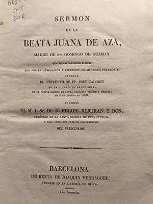 SERMÓN DE LA BEATA JUANA DE AZA,: BERTRAN Y ROS,