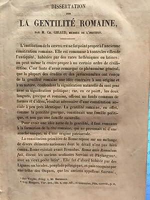 DISSERTATION SUR LA GENTILITÉ ROMAINE.: GIRAUD, M. CH.