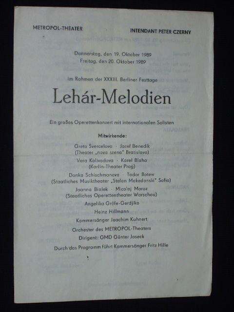 Programmzettel Metropol-Theater 19. u. 20.10.1989. LEHAR-MELODIEN im: Metropol-Theater, Intendant: Peter