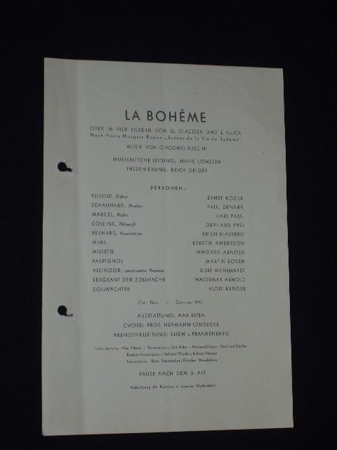 Programmzettel Komische Oper Berlin 1954 La Boheme Von Giacosa