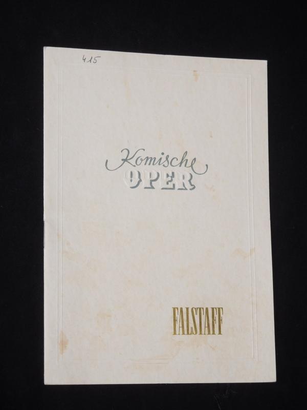 Programmheft Komische Oper Berlin 1952. FALSTAFF von: Komische Oper Berlin,