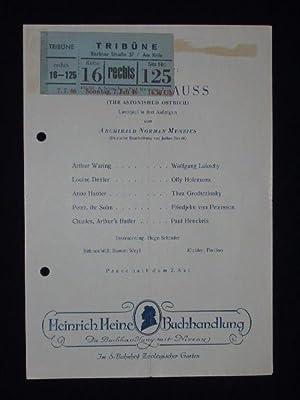 Programmzettel Tribüne am Knie 1946. Uraufführung VOGEL: Tribüne am Knie