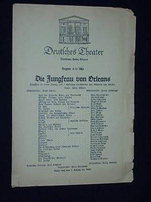 Programmzettel Deutsches Theater um 1937. DIE JUNGFRAU: Deutsches Theater Berlin,