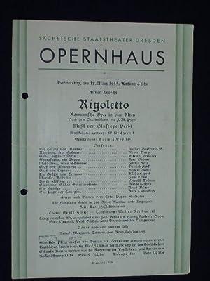 Programmzettel Sächsische Staatstheater Dresden, Opernhaus 18.3.1943. RIGOLETTO: Sächsische Staatstheater Dresden,