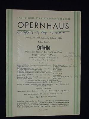 Programmzettel Sächsische Staatstheater Dresden, Opernhaus 1.10.1943. OTHELLO: Staatstheater Dresden, Intendant: