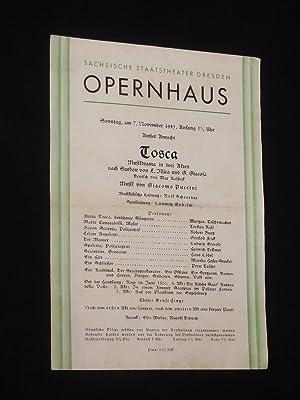 Programmzettel Sächsische Staatstheater Dresden, Opernhaus 7.12.1943. TOSCA: Sächsische Staatstheater Dresden,