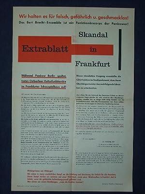 Original-Plakat Extrablatt Skandal in Frankfurt. Wir halten es für falsch, gefährlich u. ...