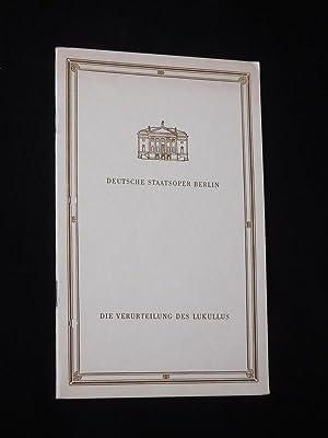 Programmheft Deutsche Staatsoper Berlin 1965. DIE VERURTEILUNG: Herausgeber: Deutsche Staatsoper