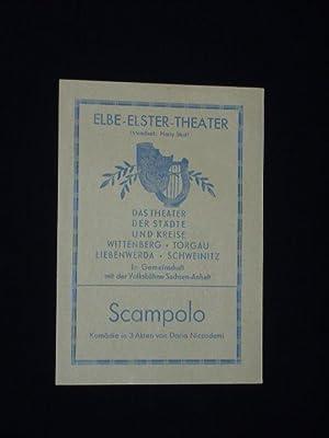 Programmzettel Elbe-Elster-Theater Wittenberg um 1949. SCAMPOLO von: Elbe-Elster-Theater Wittenberg, Intendant:
