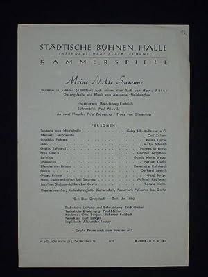 Programmzettel Städtische Bühnen Halle 1947. MEINE NICHTE: Städtische Bühnen Halle