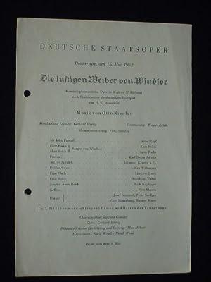 Programmzettel Deutsche Staatsoper Berlin 1952. DIE LUSTIGEN: Deutsche Staatsoper Berlin,