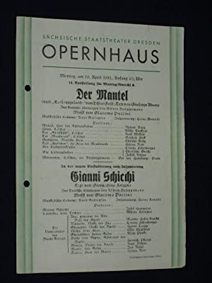 Programmzettel Sächsische Staatstheater Dresden, Opernhaus 19. April: Sächsische Staatstheater Dresden,
