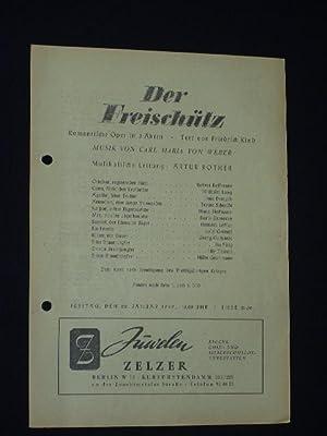Programmzettel Städtische Oper Berlin 1949. DER FREISCHÜTZ: Deutsche Staatsoper Berlin;