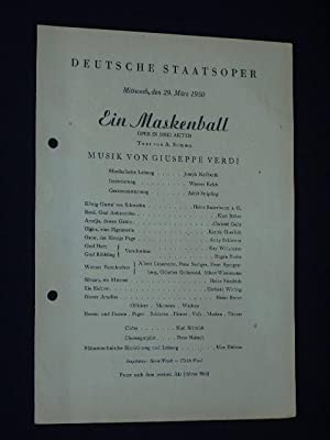 Programmzettel Deutsche Staatsoper Berlin 1950. EIN MASKENBALL: Deutsche Staatsoper Berlin,
