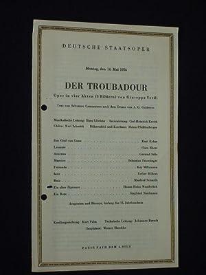 Programmzettel Deutsche Staatsoper Berlin 1956. DER TROUBADOUR: Deutsche Staatsoper Berlin,
