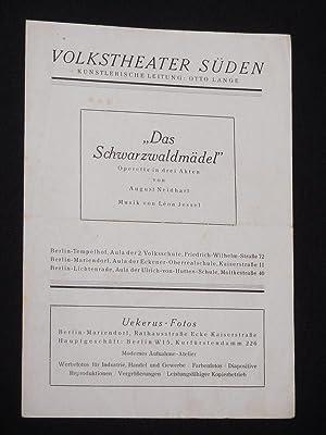 Programmzettel Volkstheater Süden 1946. DAS SCHWARZWALDMÄDEL von: Volkstheater Süden, künstlerische