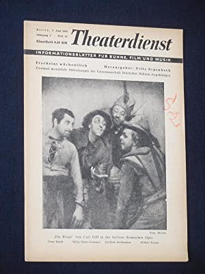 Theaterdienst. Informationsblätter für Bühne, Film und Musik.: Herausgeber: Fritz Erpenbeck