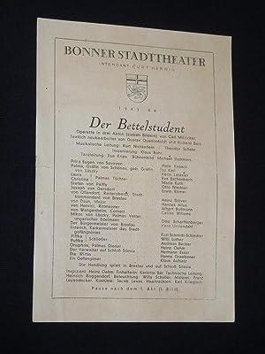Programmzettel Bonner Stadttheater 1943/44. DER BETTELSTUDENT von: Bonner Stadttheater, Intendant:
