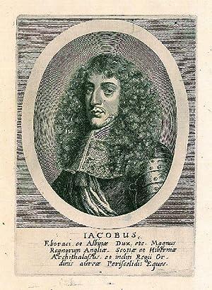 JAKOB II. Stuart, König von England (1633 - 1701). Brustbild nach halblinks im Oval des ...