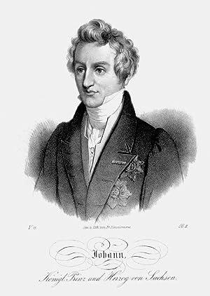 JOHANN, König von Sachsen (1801 - 1873). Brustbild nach halblinks des späteren Kö...