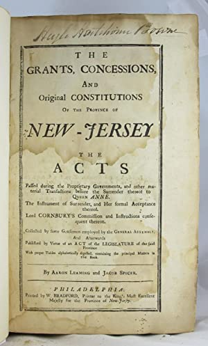 Grants, Concessions, and Original Constitutions: NEW JERSEY. LAWS