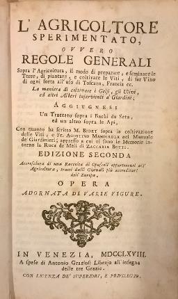 L'agricoltore sperimentato, ovvero regole generali sopra l'agricoltura,: Trinci, Cosimo
