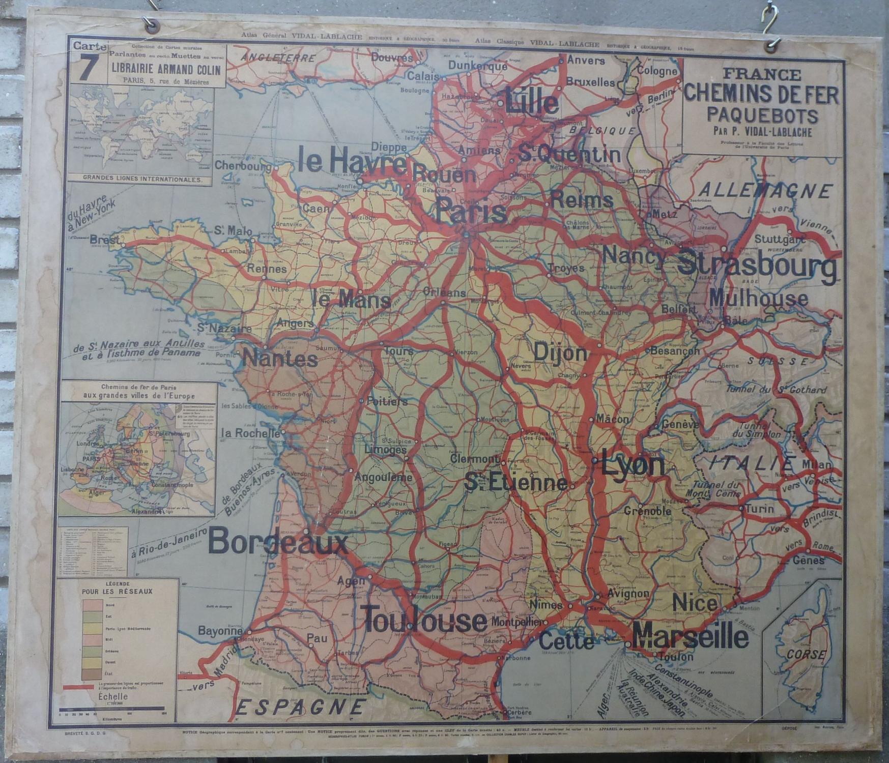 Carte Murale Vidal-Lablache n° 7 et 7 bis (France Chemins de Fer Paquebots): P. Vidal-Lablache ...