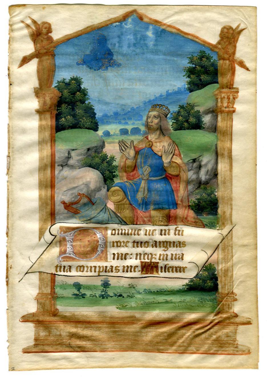 Illuminated Manuscript: King David Kneeling Before God: [Illuminated Manuscript]