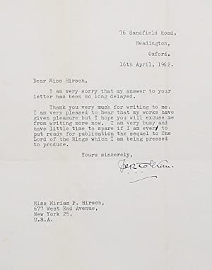 Typed Letter Signed [TLS]: TOLKIEN, J.R.R.