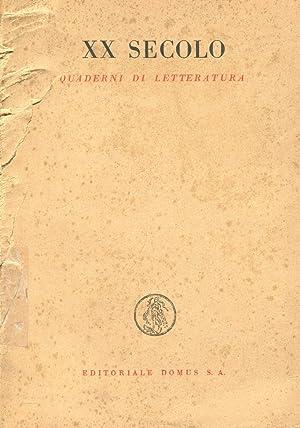 XX SECOLO, QUADERNI DI LETTERATURA (fascicolo 1