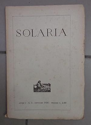 SOLARIA, rivista mensile 1926-1934 TUTTO IL PUBBLICATO