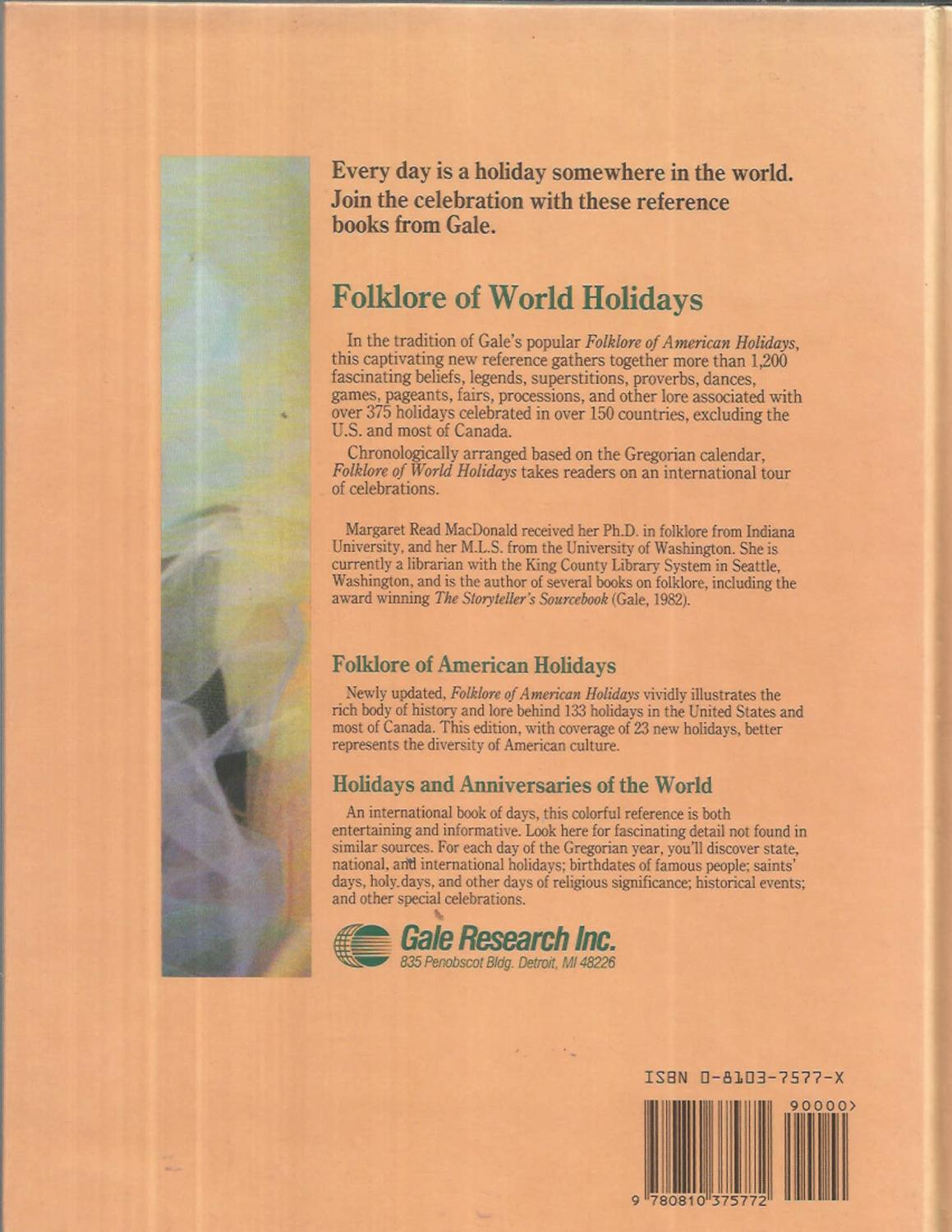 The Folklore Of World Holidays By Macdonald Margaret Read Editor